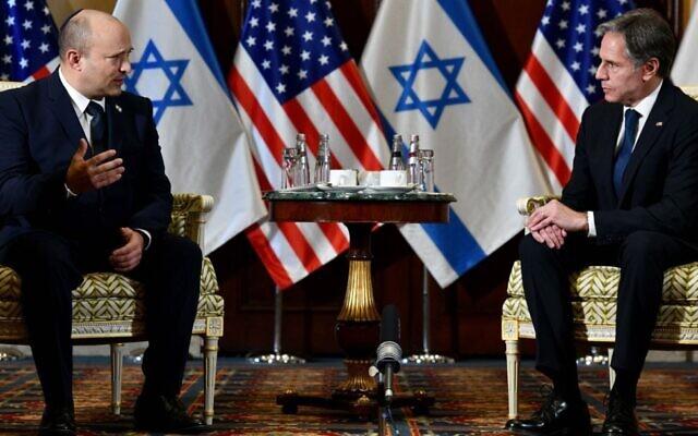 Israeli Prime Minister Naftali Bennett on the left meets U.S. Secretary of State Antony Blinken at the White House, Aug. 26, 2021. (GPO Handout/Anadolu Agency via Getty Images via JTA)