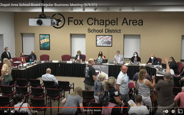 An unidentified male gave a Nazi salute during the Aug. 9 Fox Chapel Area School Board meeting. Screenshot by David Rullo.
