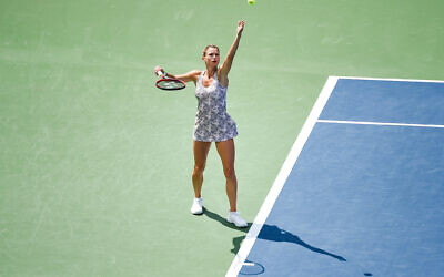 Camila Giorgi (ITA) serves the ball during the final WTA National Bank Open match on Aug.15, 2021 at IGA Stadium in Montreal, QC (Photo by David Kirouac/Icon Sportswire via Getty Images/JTA)