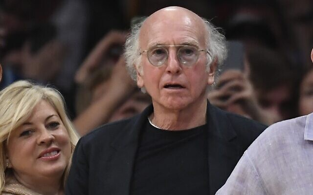Larry David at a Los Angeles Lakers game at the Staples Center in Los Angeles, Nov. 15, 2019. (Kevork S. Djansezian/Getty Images via JTA)