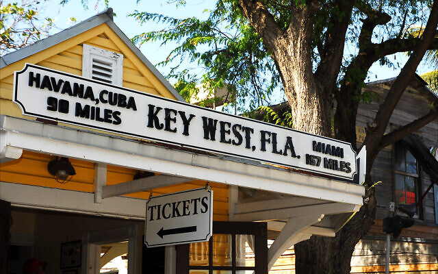 Key West, Florida, is much closer to Havana, Cuba, than to Miami, as is apparent on this storefront in Mallory Square. (Larry Luxner)