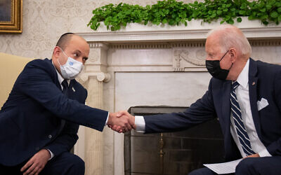 U.S. President Joe Biden meets with Israeli Prime Minister Naftali Bennett in the Oval Office at the White House on Aug. 27, 2021 in Washington, DC. (Photo by Sarahbeth Maney-Pool/Getty Images via JTA)