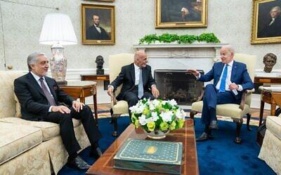 President Joe Biden with President Ashraf Ghani and Chairman Abdullah Abdullah at the White House in June, 2021. (White House photo)