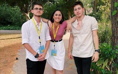 Pittsburgh's shinshinim, from left: Amit Haizler, Shahaf Balasiano and Itai Rovnick (Photo courtesy of Risa Fruchter)