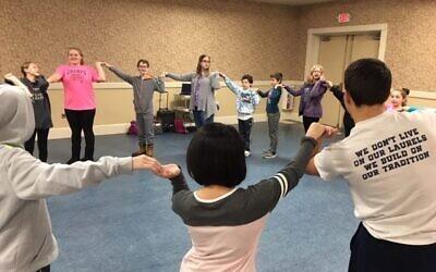 Temple David Weiger religious school students enjoying Israeli dance, pre-pandemic (Photo courtesy of Rabbi Barbara Symons)