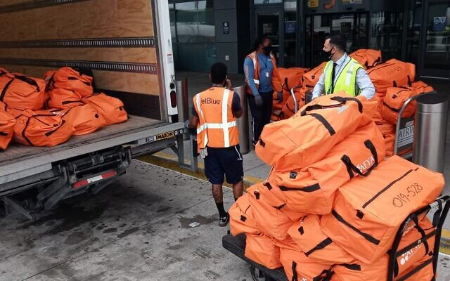 Afya's first shipment of nearly 1,300 pounds of medical supplies worth $84,000 left on a JetBlue flight on Aug. 17. (Photo courtesy of the Afya Foundation)