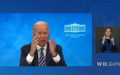 President Joe Biden addresses a Zoom call with rabbis before Rosh Hashanah, Sept. 2 2021. (White House)