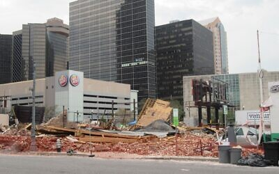 A view of the destroyed Karnofsky family building where Louis Armstrong was a regular guest in New Orleans, Louisiana on Aug. 31, 2021. (Photo by Alan Smason/Crescent City Jewish News)