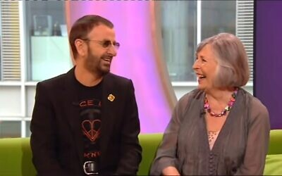 Sheila Bromberg shares a laugh with Ringo Starr on a BBC talk show in May 2011. (YouTube/Screenshot via JTA)