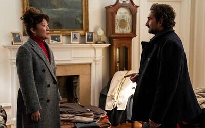 "Sandra Oh and Jay Duplass in ""The Chair."" (Eliza Morse/Netflix via JTA)"
