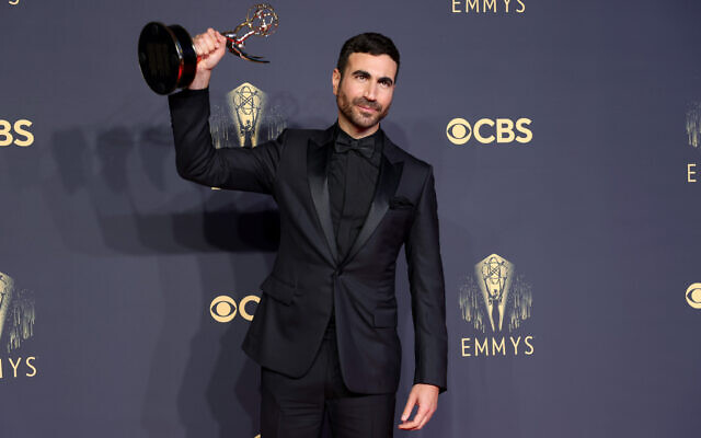"""Brett Goldstein, winner of best supporting actor in a comedy series for """"Ted Lasso,"""" poses in the press room during the 2021 Emmy Awards, Sept. 19, 2021. (Photo by Rich Fury/Getty Images via JTA)"""