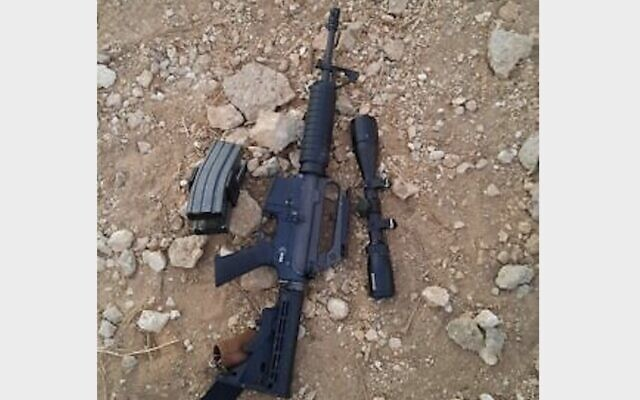 One of the guns used by a Palestinian suspect against IDF troops during an arrest raid in the northern West Bank town of Burqin on September 26, 2021. (Israel Defense Forces)
