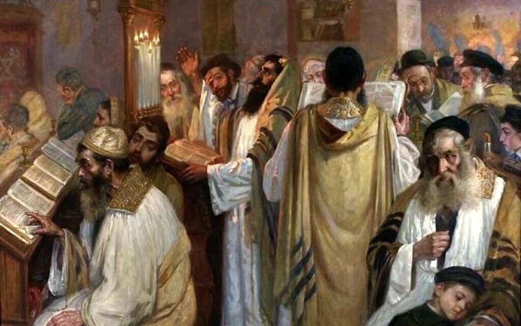 """On the Eve of Yom Kippur"" (Jakub Weinles, Public domain, via Wikimedia Commons)"