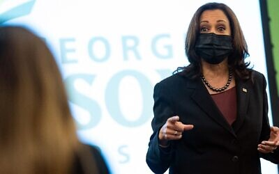 Vice President Kamala Harris speaks to students in a political science class at George Mason University during a surprise visit to campus in Fairfax, Virginia, Sept. 28, 2021. (Alex Edelman/AFP via Getty Images)