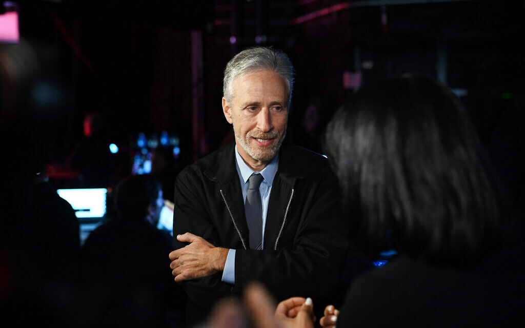 Jon Stewart speaks backstage during the 13th annual Stand Up for Heroes to benefit the Bob Woodruff Foundation at The Hulu Theater at Madison Square Garden on Nov. 4, 2019 in New York City. (Photo by Bryan Bedder/Getty Images for The Bob Woodruff Foundation via JTA )