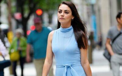 Mila Kunis on a film set in New York City, Aug. 29, 2021. (MEGA/Getty Images via JTA)