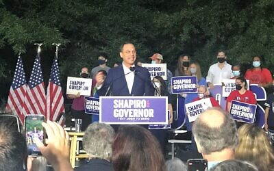 Josh Shapiro speaks to the crowd at his campaign rally on Oct. 13 at Penn State Abington. (Photo by Jarrad Saffren)