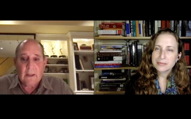 Louis Schmidt, a Shoah Foundation interviewer, talks with Lauren Bairnsfather of the Holocaust Center about his experiences interviewing survivors  (Screenshot provided by the Holocaust Center of Pittsburgh)