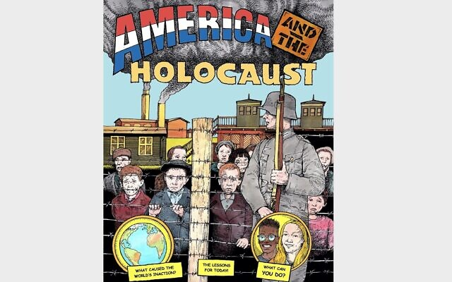 """Cover of """"America and the Holocaust"""" (Art by Frederick Carlson)"""