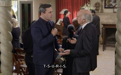 """Jon Hamm and Larry David discuss Yiddish words during the first episode of Season 11 of """"Curb Your Enthusiasm."""" (Screenshot from HBO via JTA)"""