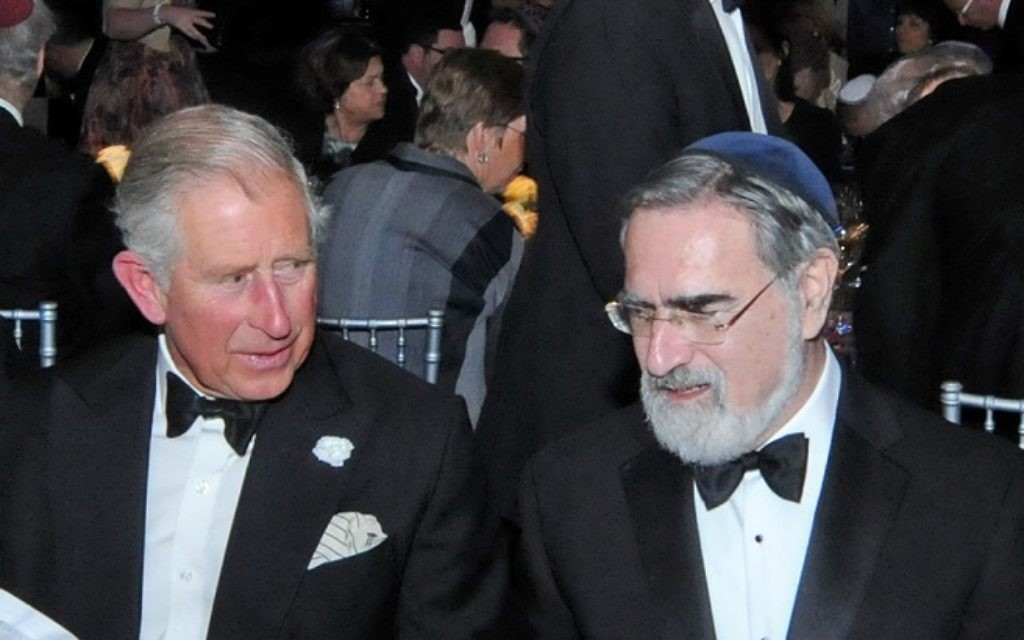 Chief Rabbi Lord Sacks in conversation with Prince Charles at Monday night's tribute dinner