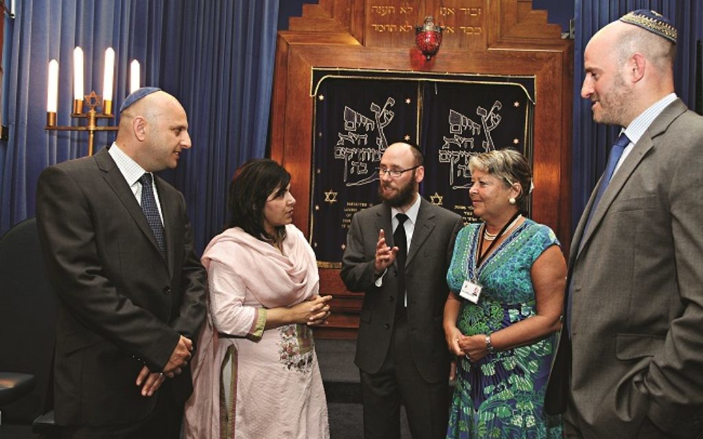Baroness Warsi (second from left) meeting community and local leaders at Brondesbury synagogue last July.