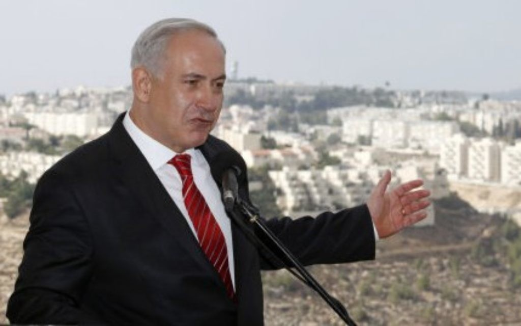 Benjamin Netanyahu in East Jerusalem's Jewish settlement of Gilo.