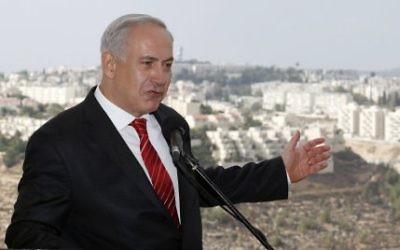 Benjamin Netanyahu in East Jerusalem's Jewish settlement of Gilo.