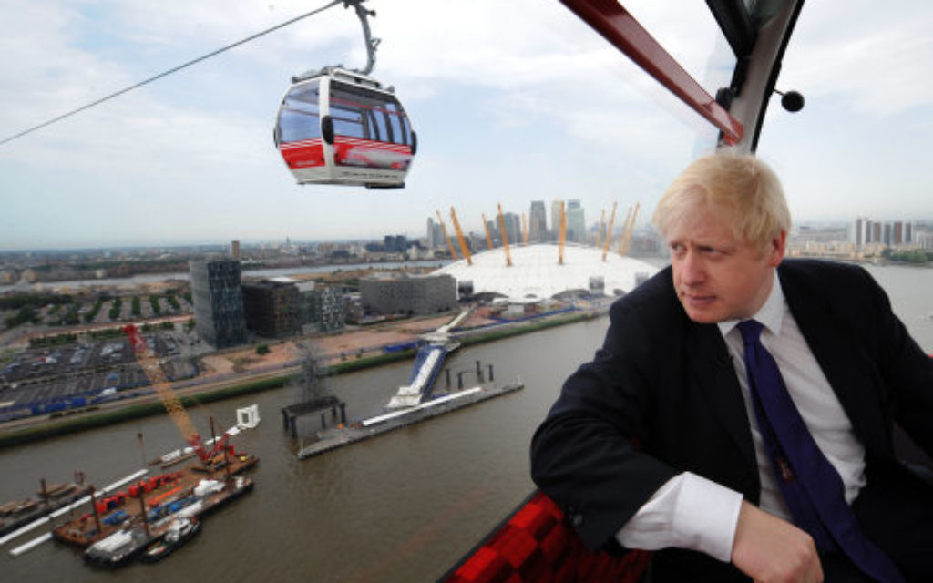 Boris Johnson on the Emirates Air Line cable car