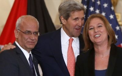 Secretary of State John Kerry stands with Israel's Justice Minister and chief negotiator Tzipi Livni, right, and Palestinian chief negotiator Saeb Erekat at the State Department in Washington.