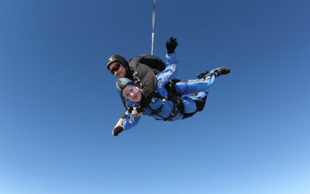 Simon takes a leap of faith from 15,000ft