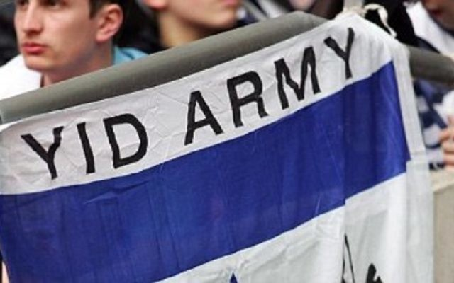 'Yid Army' banner held aloft by Spurs fans