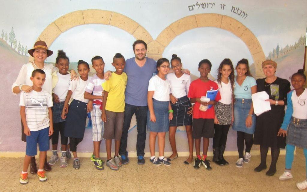 Richard with students from Netzach Yisrael school and (far left) Ayala 'Phantom Plane' Hagag.