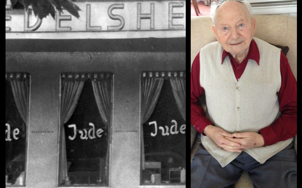 Herman and a Jewish-owned cafe daubed with the word 'Jude' during Kristallnacht.