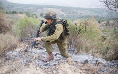 An IDF soldier in action ear Kiryat Shmona, near the Lebanon border