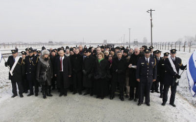 Members of Israeli parliament, the Knesset, attend a ceremony to mark the 69th anniversary of the liberation of Auschwitz Nazi death camp's in Oswiecim, Poland, on Monday.
