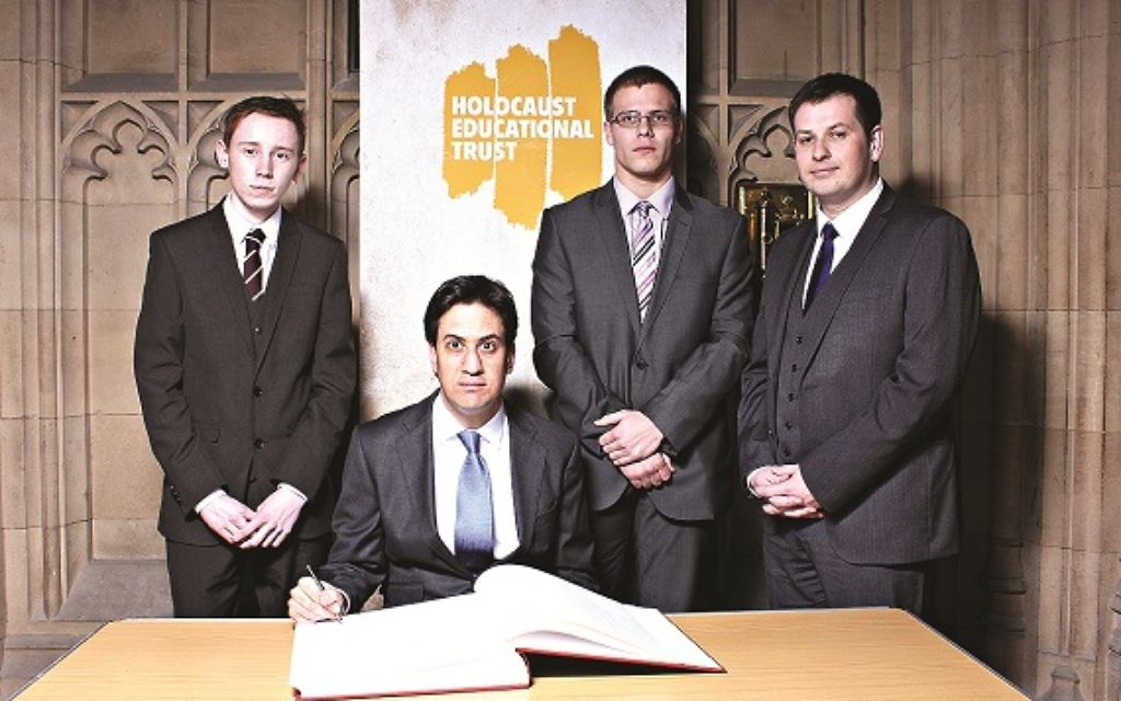 Ed Miliband signing the Holocaust Educational Trust's Book of Commitment