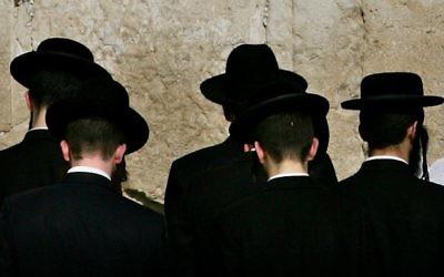 Orthodox Jews praying at the Western Wall
