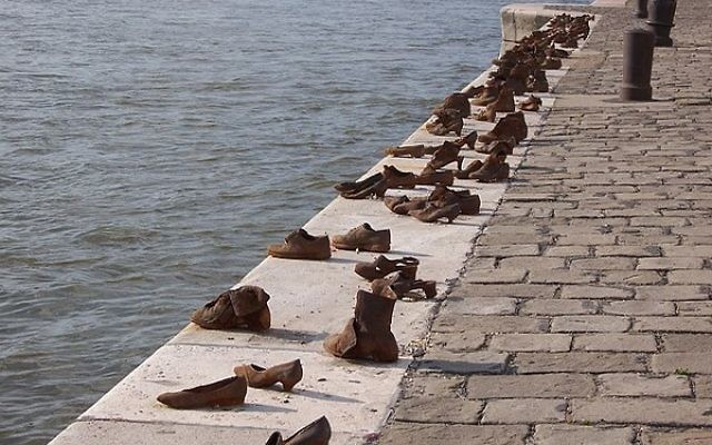 Budapest's Holocaust memorial. Shoes on the river bank