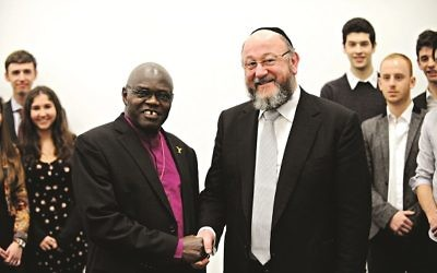 Chief Rabbi Ephraim Mirvis pictured with the Archbishop of York, John Sentamu.