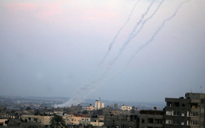 Smoke trails are seen after Hamas rockets are fired in the southern Gaza Strip towards southern Israel, in 2012.