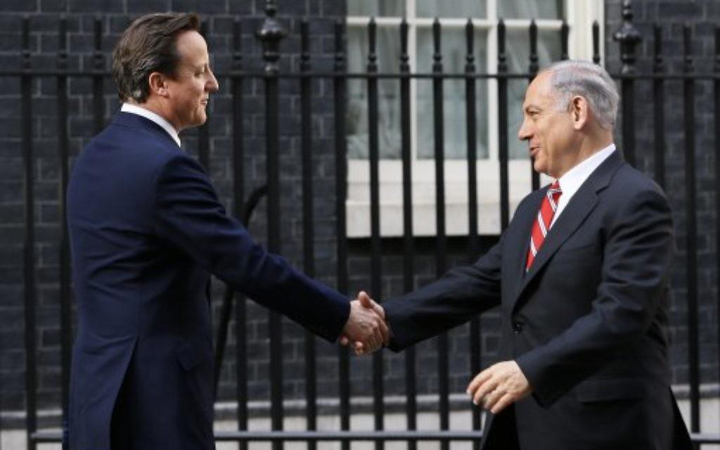 David Cameron greets Benjamin Netanyahu at Downing Street in April 2013.