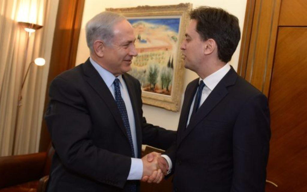 Ed Miliband meeting Benjamin Netanyahu on Thursday.
