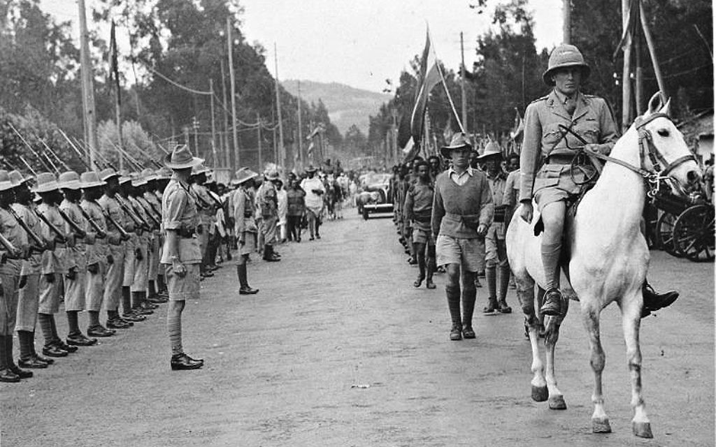 """Orde Wingate, known in Israel simply as """"The Friend"""" enters Addis Ababa on horseback in 1941 (Wikipedia/SourceIDF Archive)"""