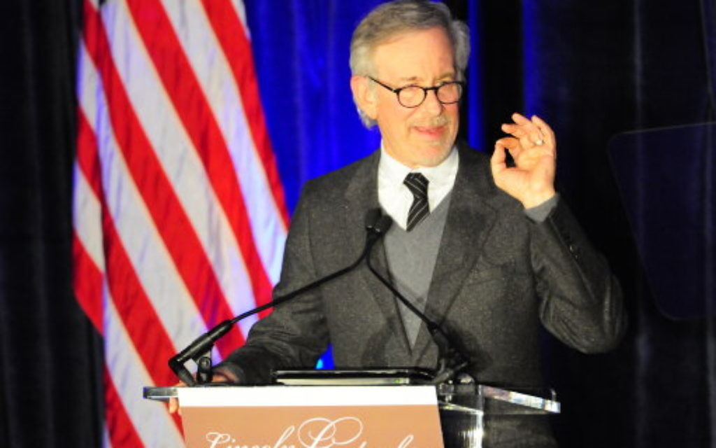 Steven Spielberg is honored with the Abraham Lincoln Leadership Award by the Abraham Lincoln Presidential Library Foundation at Hilton Chicago.