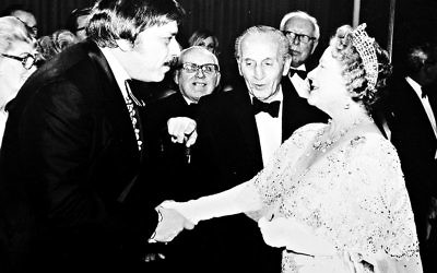 Bob Sherman meeting Queen Elizabeth, the Queen Mother at the Royal Command Film performance of The Slipper and the Rose (1976)