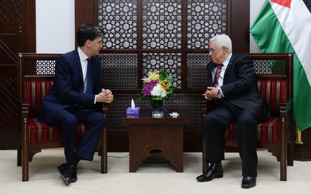 Labour leader Ed Miliband met Palestinian President Mahmoud Abbas at The Muqata, the President's office in Ramallah.