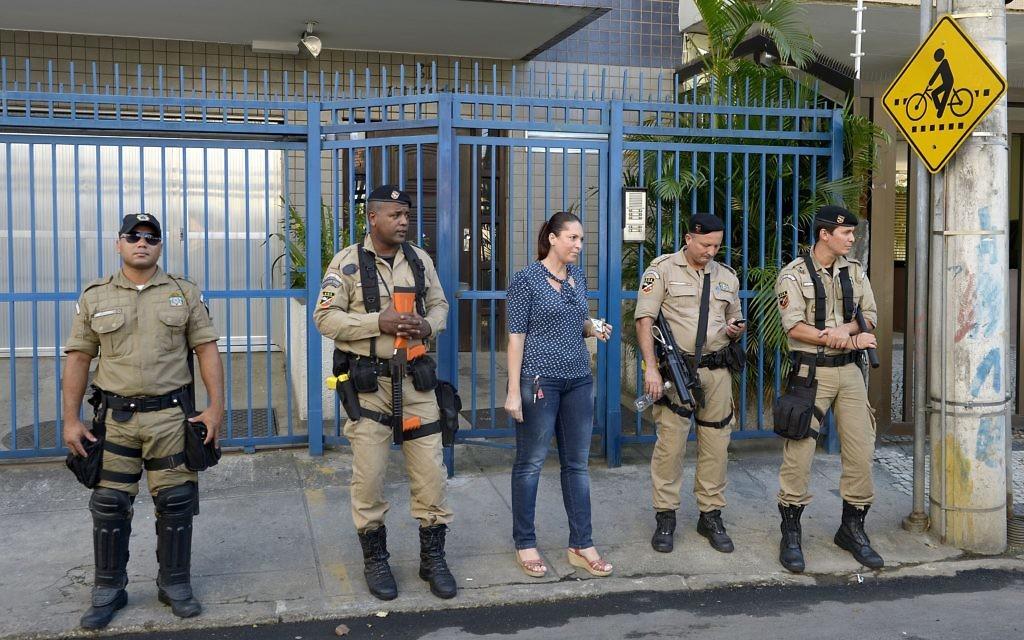Members of the Brazilian security forces in downtown Rio de Janeiro.