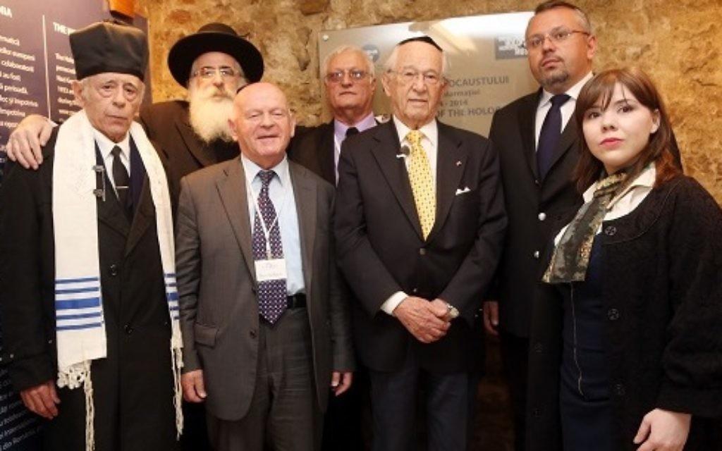 L-R: Chief Cantor of Bucharest Jewish Community Yosef Adler, Chief Rabbi of Romania Rafael Sheffer, Ben Helfgott, Chaim Chesler, Herman Cahn- childhood friend of Elie Wiesel, Ovidiu Nemes, and Elisabeta Ungurianu.