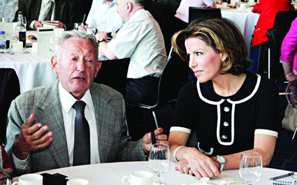 Newsreader Natasha Kaplinsky with a guest at a Holocaust Commission dinner.